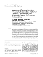 Magnetic and electrical resistivity tomography investigations in a Roman legionary camp site Legio IV Scythica in Zeugma Southeastern Anatolia Turkey.