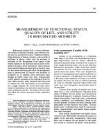 Measurement of functional status quality of life and utility in rheumatoid arthritis.