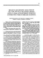 Molecular Genetic Analysis of HLA В ЭDR and HLA В ЭDQ Genes Among Anti В ЭU1-70-kd Autoantibody Positive Connective Tissue Disease Patients.