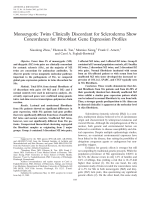 Monozygotic twins clinically discordant for scleroderma show concordance for fibroblast gene expression profiles.