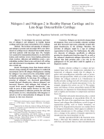Nidogen-1 and nidogen-2 in healthy human cartilage and in late-stage osteoarthritis cartilage.
