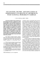 Occupation income and education as independent covariates of arthritis in four national probability samples.