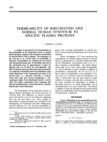 Permeability of Rheumatoid and Normal Human Synovium to Specific Plasma Proteins.