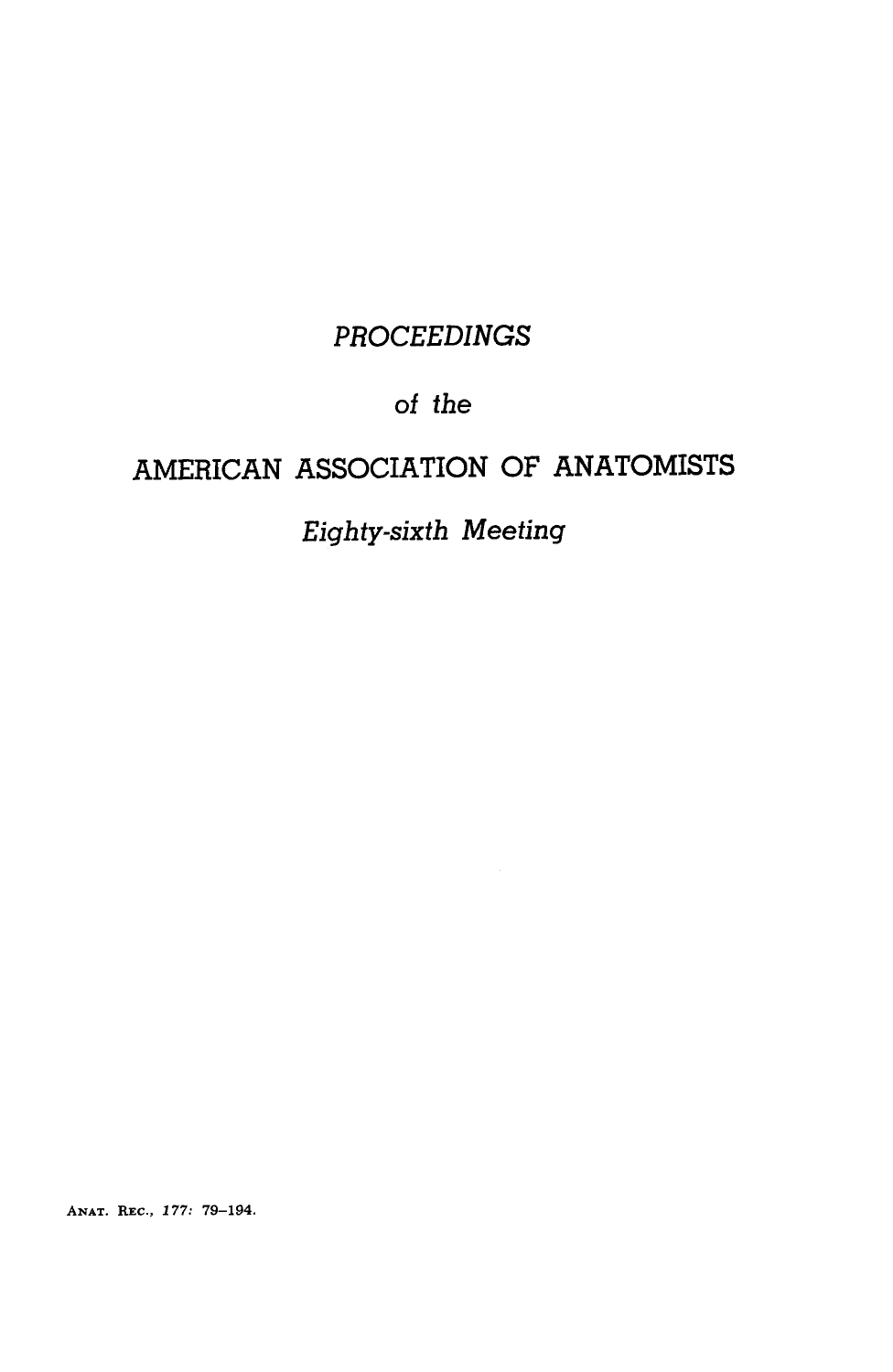 Proceedings of the american association of anatomists eighty sixth proceedings of the american association of anatomists eighty sixth meeting fandeluxe Image collections