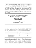 Proceedings of the Annual Meeting of the American Rheumatism Association June 17-18 1965 Philadelphia Pa.
