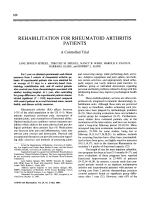 Rehabilitation for rheumatoid arthritis patients. A controlled trial
