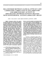 Relationship between clinical efficacy and laboratory correlates of inflammatory and immunologic activity in rheumatoid arthritis patients treated with nonsteroidal antiinflammatory drugs.