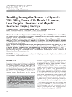 Remitting seronegative symmetrical synovitis with pitting edema of the handsUltrasound color doppler ultrasound and magnetic resonance imaging findings.