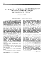 Retardation of Radiologic Progression in Rheumatoid Arthritis With Methotrexate Therapy. A Controlled Study