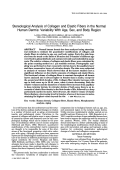 Stereological analysis of collagen and elastic fibers in the normal human dermisVariability with age sex and body region.