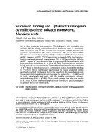 Studies on binding and uptake of vitellogenin by follicles of the tobacco hornworm  Manduca sexta.