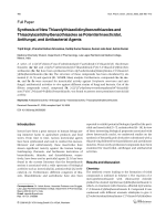 Synthesis of New Thiazolylthiazolidinylbenzothiazoles and Thiazolylazetidinylbenzothiazoles as Potential Insecticidal Antifungal and Antibacterial Agents.