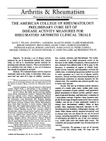 The American college of rheumatology preliminary core set of disease activity measures for rheumatoid arthritis clinical trials.