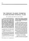 The Primary Plasmin Inhibitor in Rheumatoid Synovial Fluid.