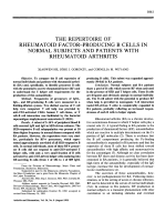 The repertoire of rheumatoid factorproducing b cells in normal subjects and patients with rheumatoid arthritis.
