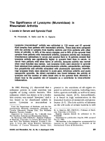 The significance of lysozyme muramidase in rheumatoid arthritis. i. levels in serum and synovial fluid