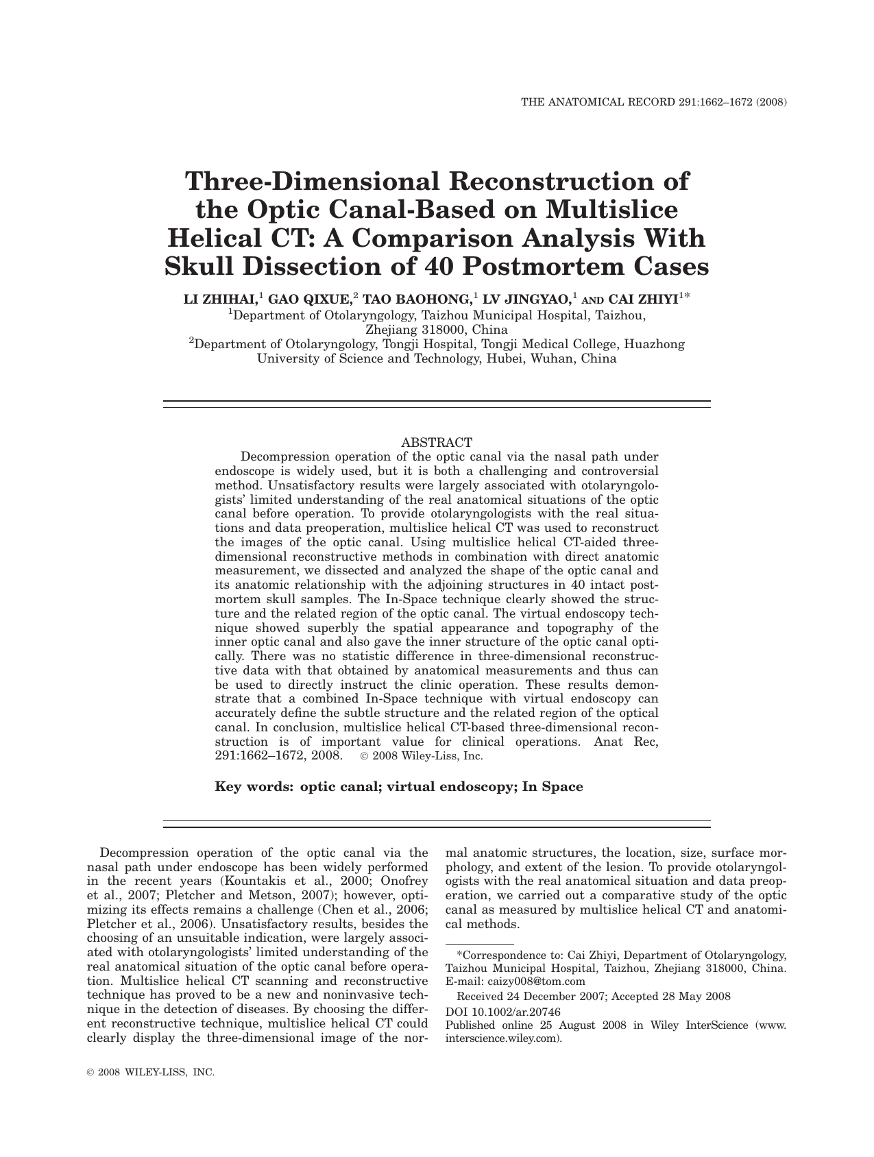 Three-Dimensional Reconstruction of the Optic Canal-Based on ...
