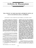 Treatment of rheumatoid arthritis with an anti-CD4 monoclonal antibody.