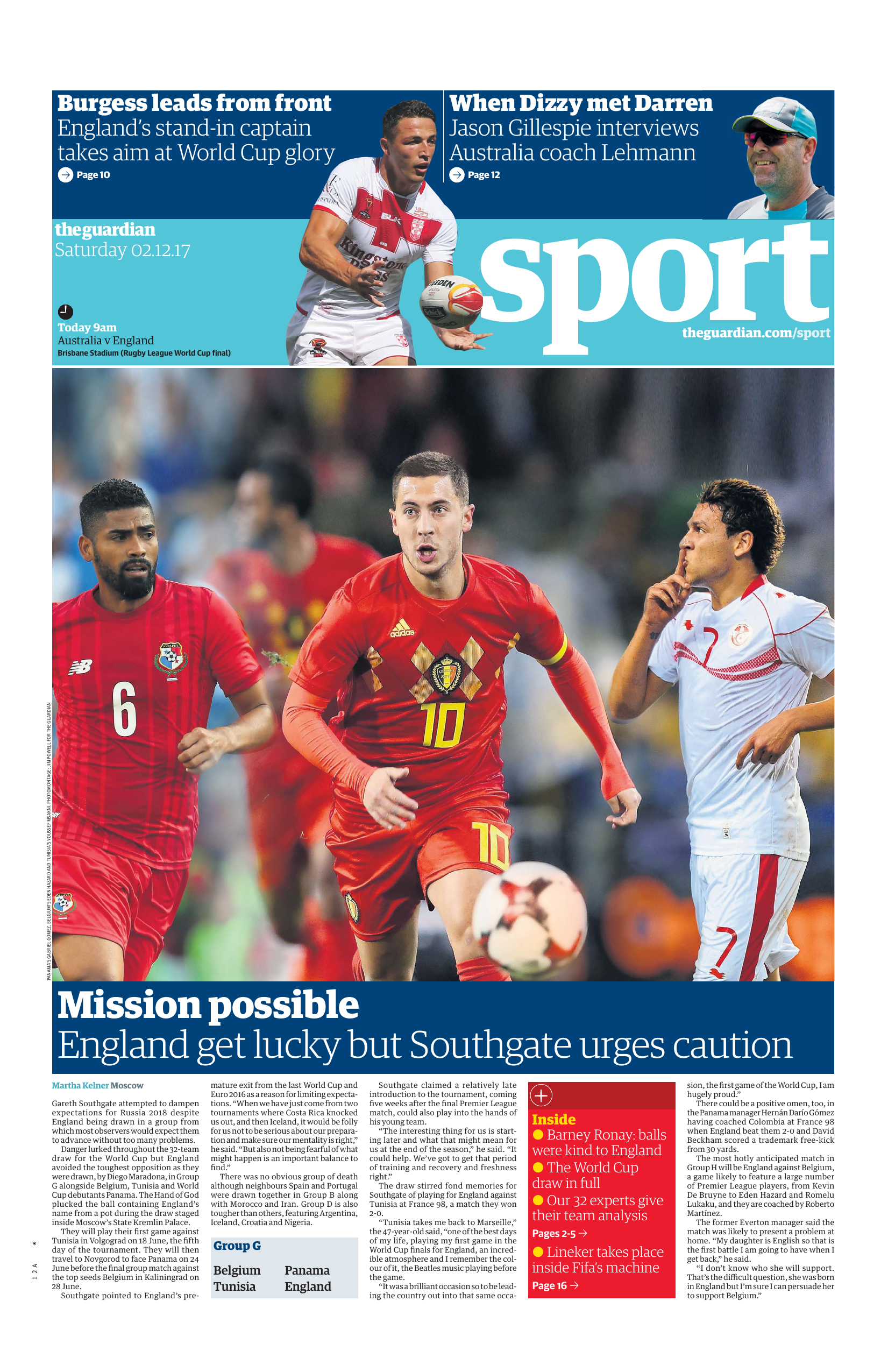 392b869ee25 The Guardian Sports supplement 02 December 2017