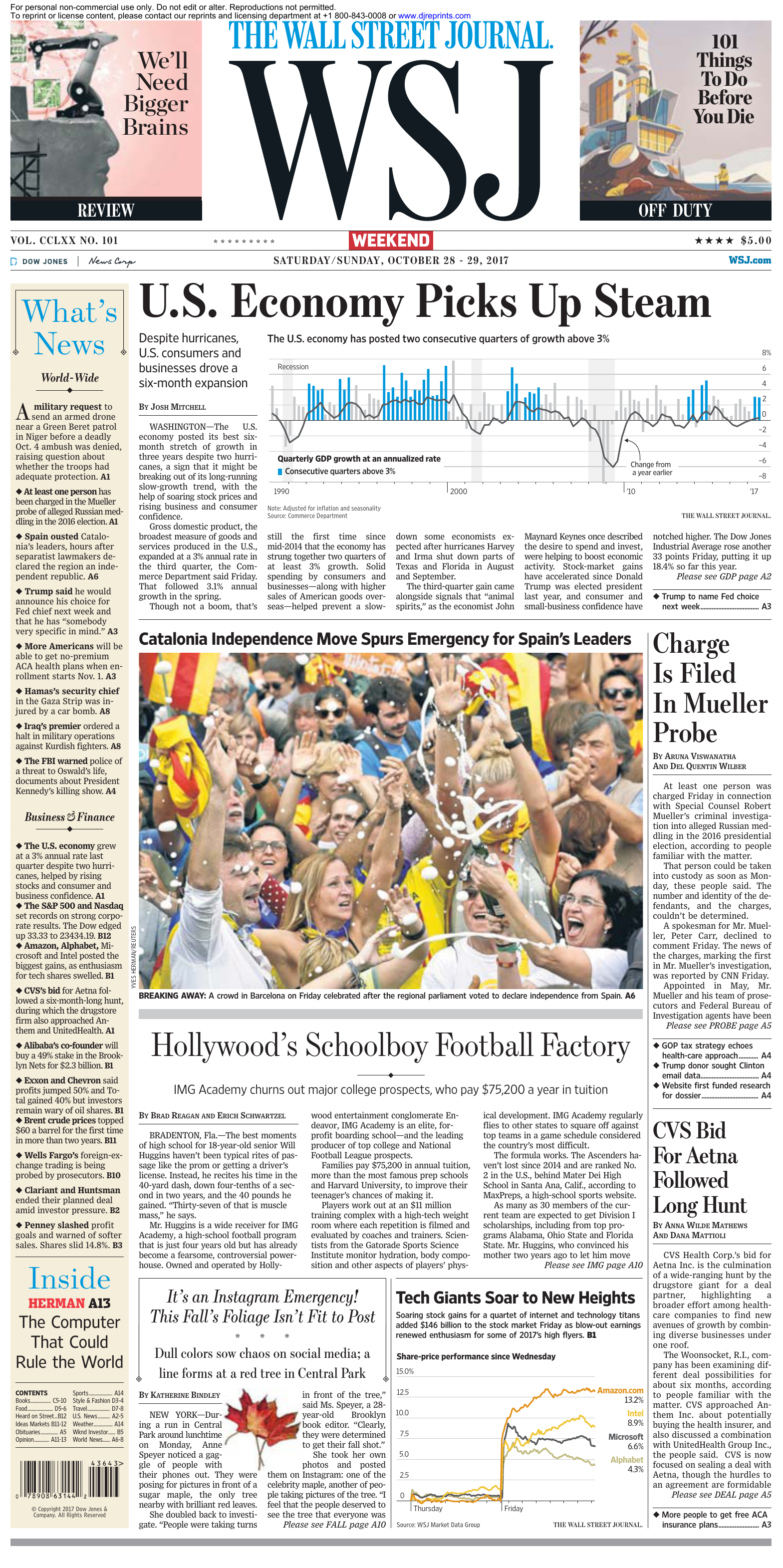 The Wall Street Journal 28 October 2017