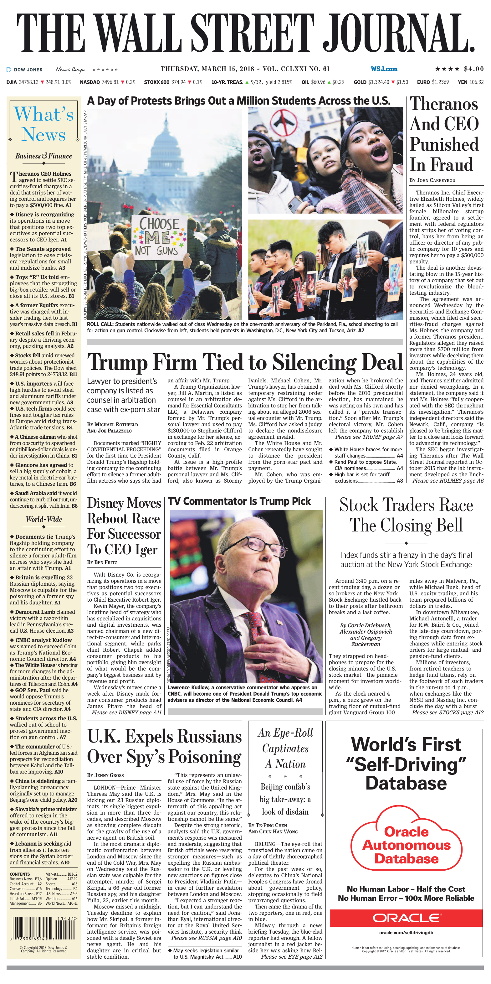 88d7af5ea The Wall Street Journal - March 15, 2018