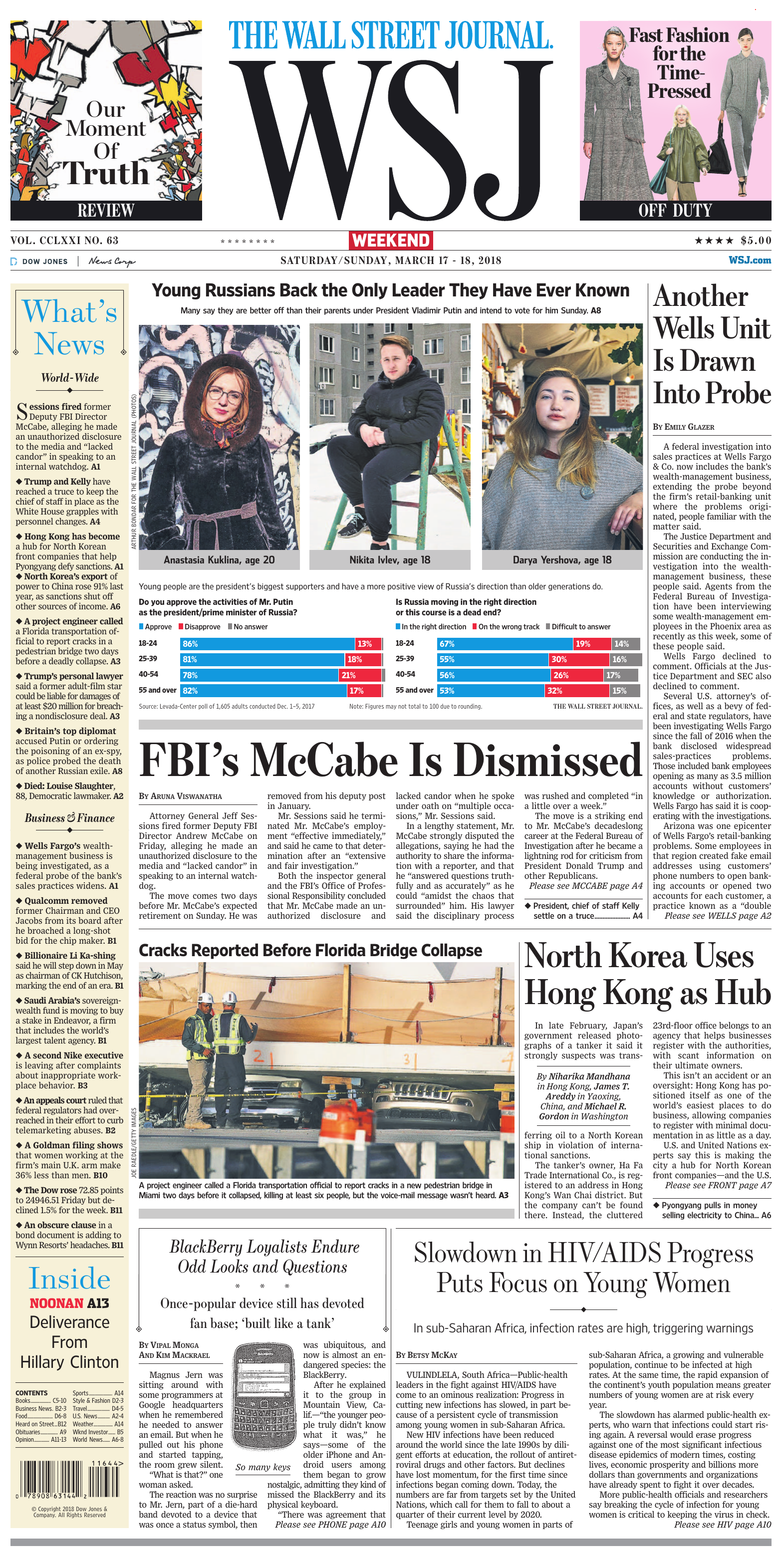 104da7ae The Wall Street Journal - March 17, 2018