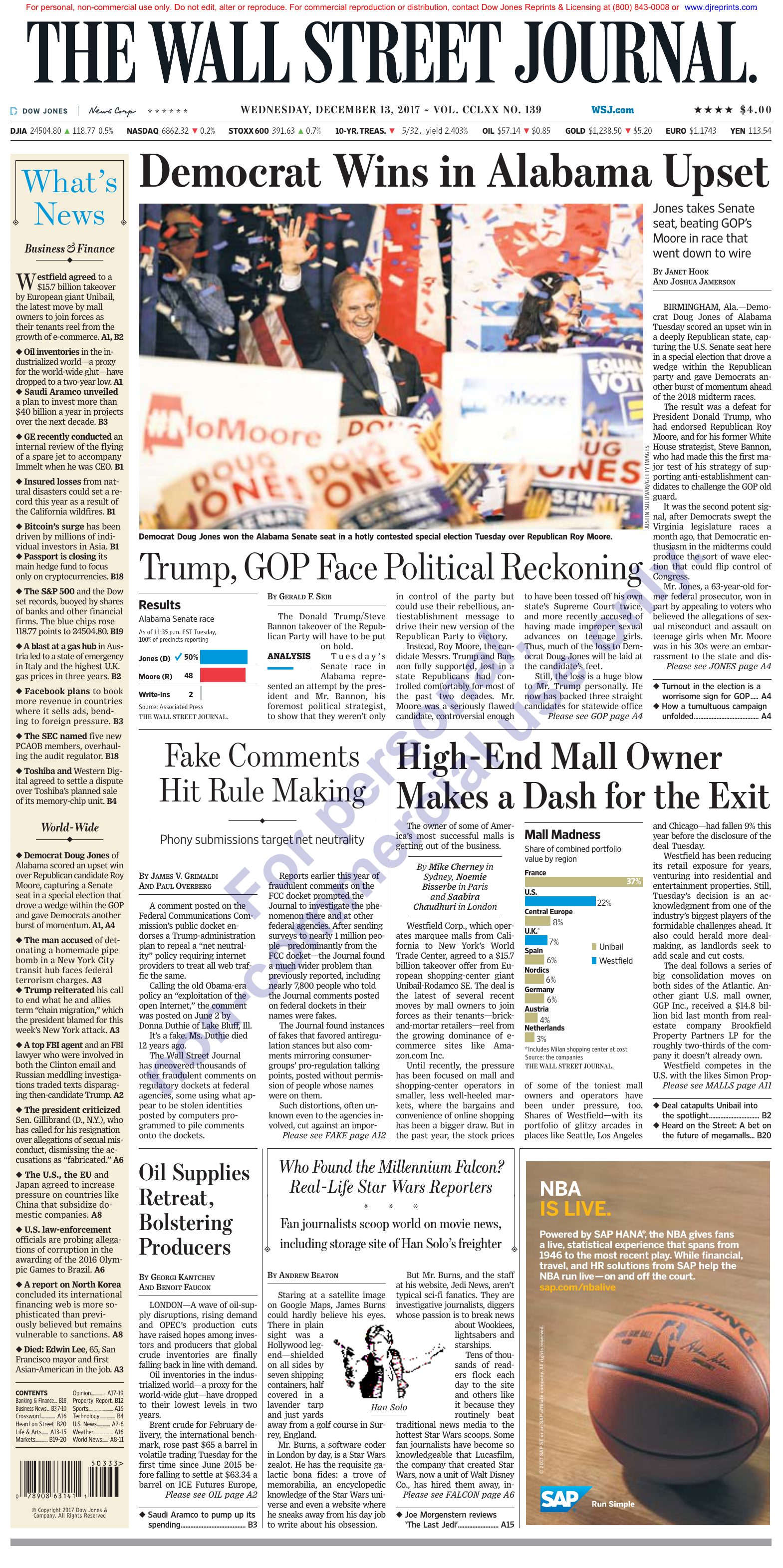 514efb7b0c The Wall Street Journal December 13 2017