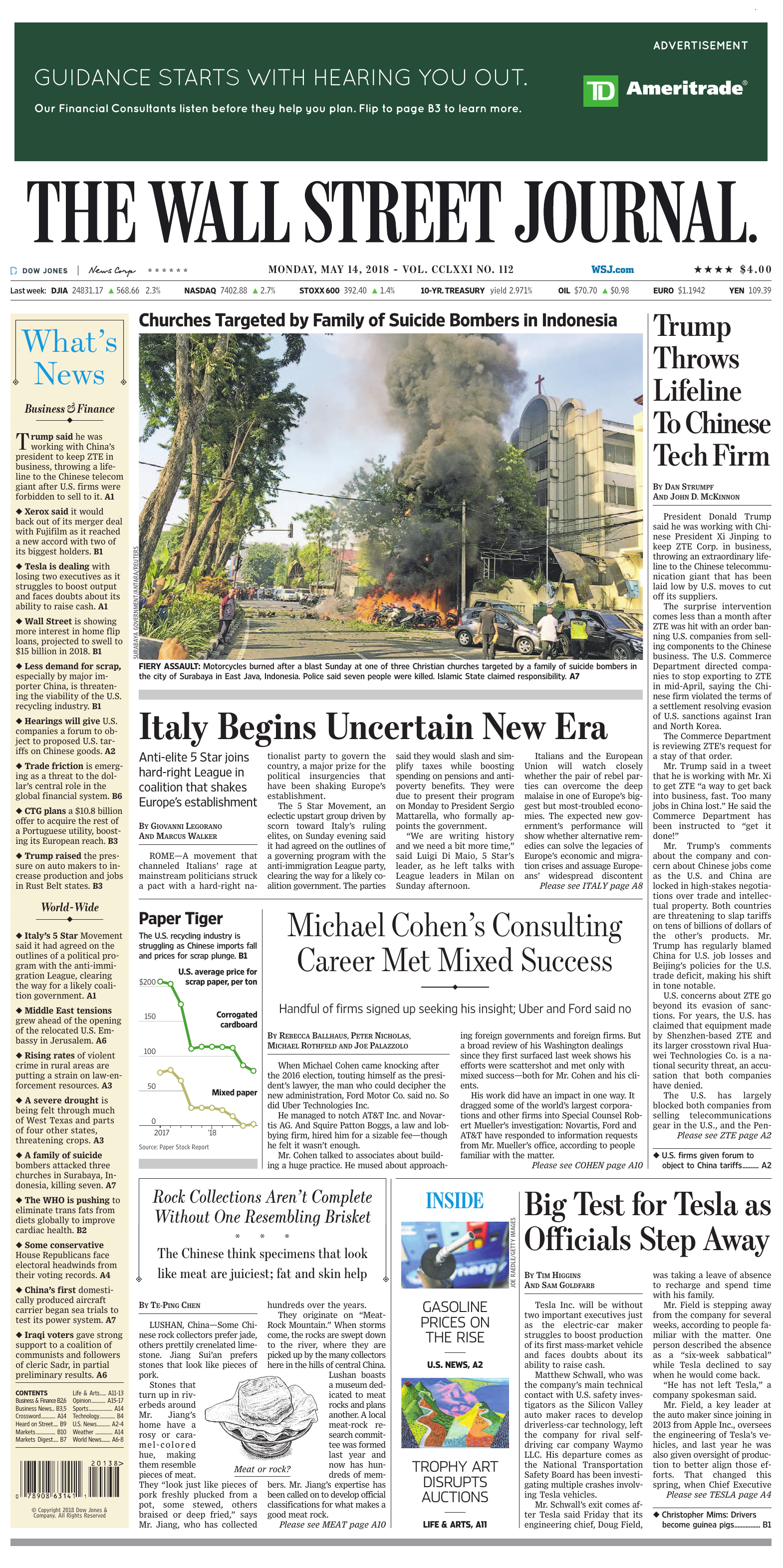 The Wall Street Journal - May 14, 2018