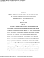 Mental health utilization among African Americans: The relationship between attitudes towards seeking professional help and coping responses