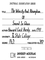 THE VELOCITY AND ABSORPTION OF SOUND IN GASES